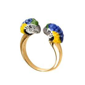 Anello face to face pappagallo blu